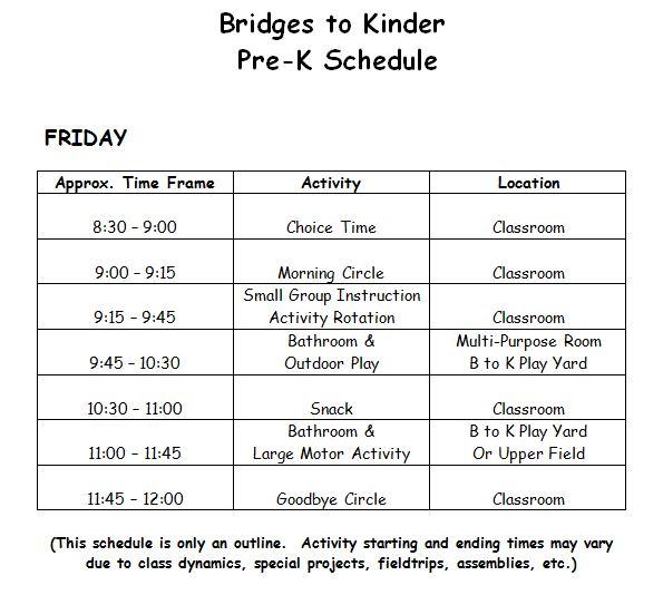 Pre-K Schedule « Bridges to Kinder