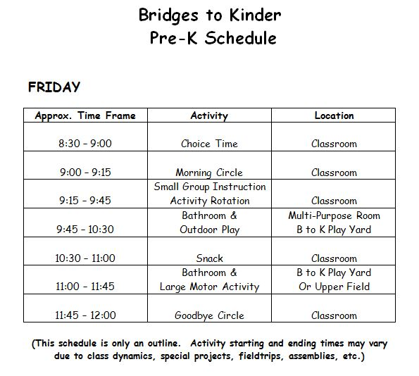 Pre K Calendar Printables : Pre k schedule « bridges to kinder